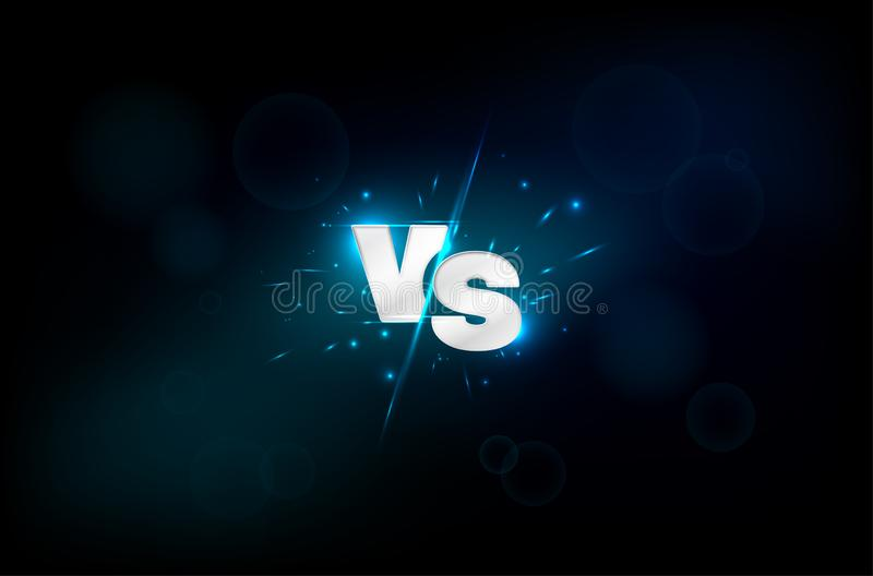 Błękitny neonowy versus logo - vs listy dla sport rywalizacji royalty ilustracja