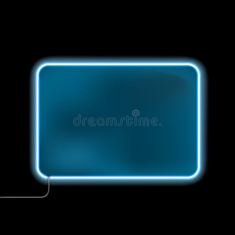 Błękitny neonowy znak dla reklamy odizolowywającej na czarnym tle ilustracji