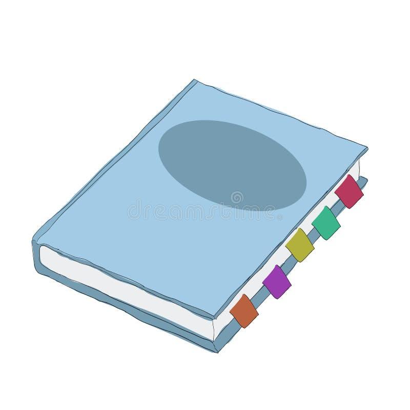 Błękitny notatnik, wektorowa kreskówka, ilustracja ilustracja wektor