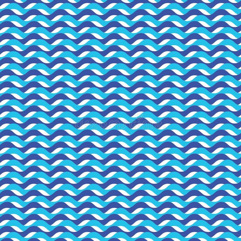 Błękitny ocean fala morski bezszwowy wzór royalty ilustracja