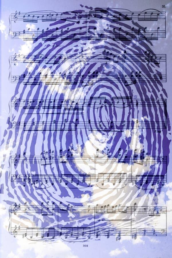 Błękitny odcisk palca przeciw tłu chmury zdjęcia stock