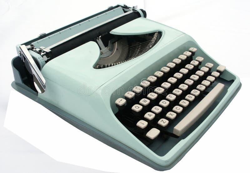 błękitny odosobniony maszyna do pisania rocznika biel zdjęcia royalty free