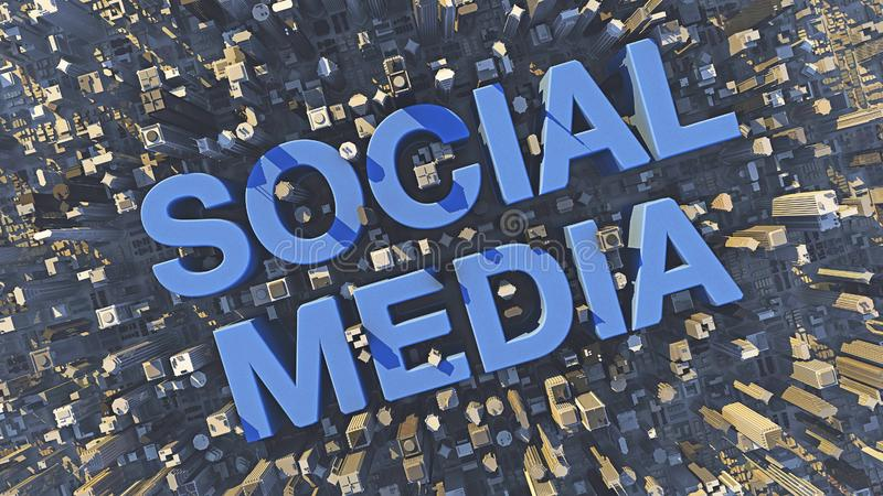 Błękitny ogólnospołeczny medialny tekst w mieście między drapaczami chmur i budynkami zdjęcie stock