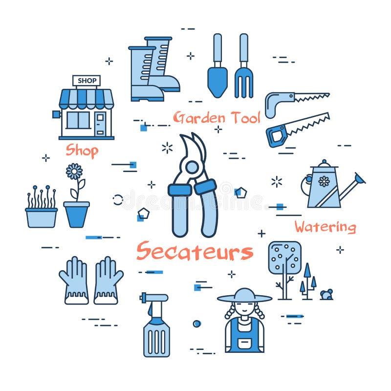 06 Błękitny ogrodnictwo - Secateurs ilustracji