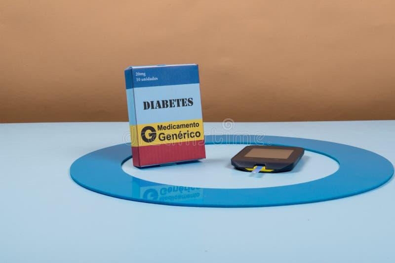Błękitny okrąg z niektóre cukrzyc wyposażeniem robi traktowaniu choroba zdjęcia stock