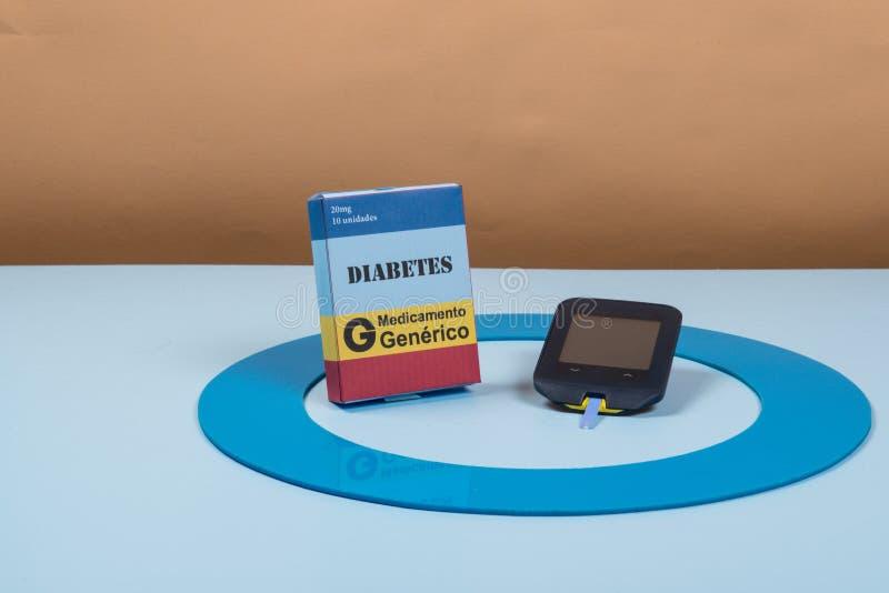 Błękitny okrąg z niektóre cukrzyc wyposażeniem robi traktowaniu choroba zdjęcia royalty free