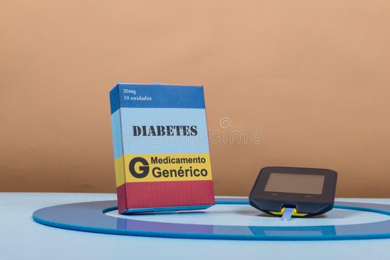Błękitny okrąg z niektóre cukrzyc wyposażeniem robi traktowaniu choroba zdjęcie stock