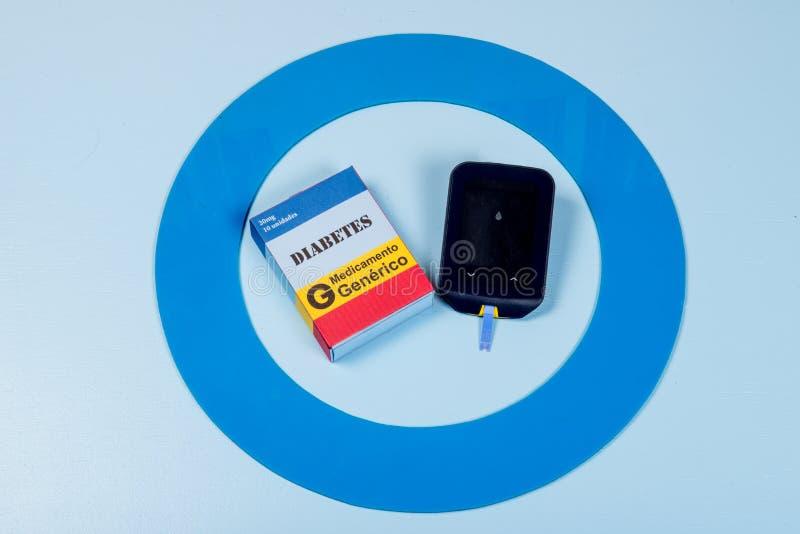 Błękitny okrąg z niektóre cukrzyc wyposażeniem robi traktowaniu choroba obraz royalty free