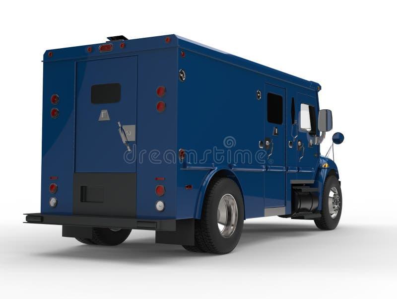 Błękitny opancerzony przewieziony samochód dostawczy - ogonu strzał ilustracji