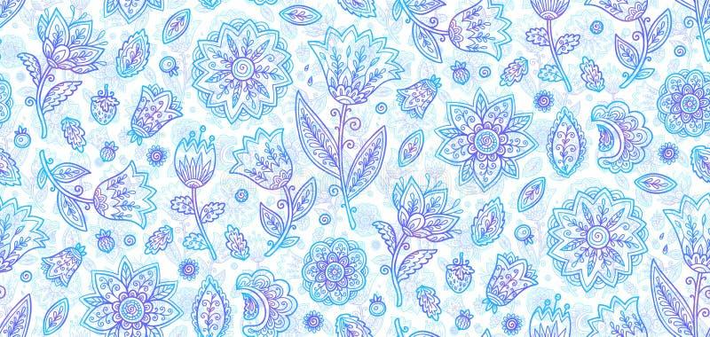 Błękitny ozdobny doodle stylu lineart kwitnie wektorową bezszwową romantyczną wzór płytkę royalty ilustracja