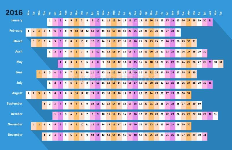 Błękitny płaski liniowy kalendarz 2016 z długim cieniem ilustracja wektor