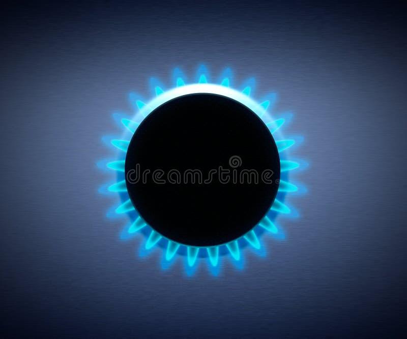 błękitny płomienia gazu hob kuchenka ilustracji