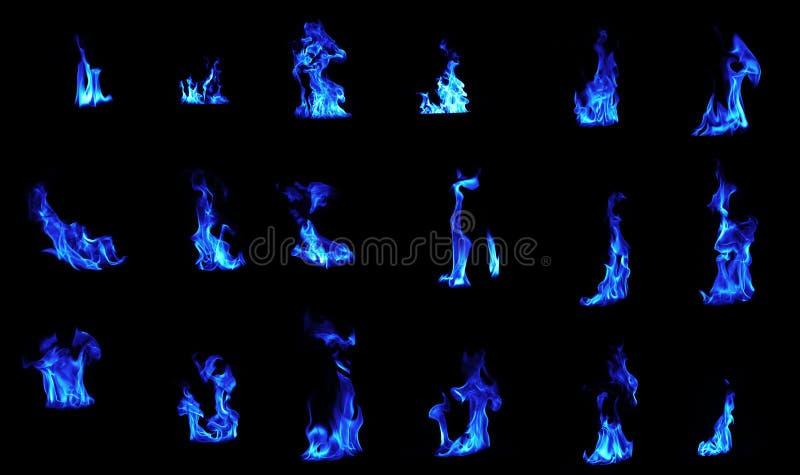 Błękitny płomienia kompilacja zdjęcia royalty free