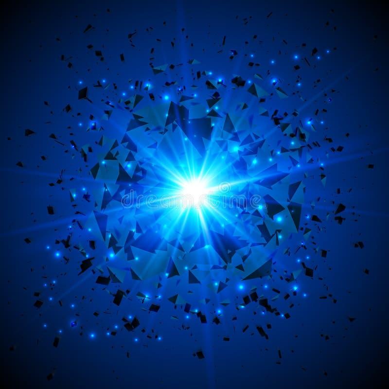 Błękitny płomienny wektorowy meteorowy pozaziemski wybuch ilustracja wektor