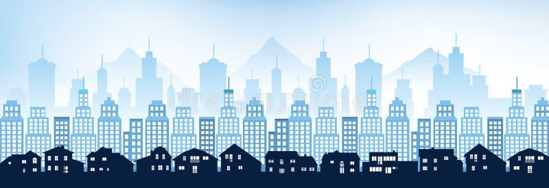 Błękitny pejzaż miejski royalty ilustracja