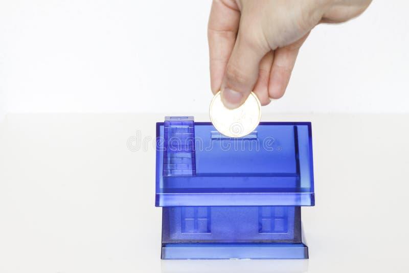 Błękitny pieniądze boxe - dom zdjęcie royalty free