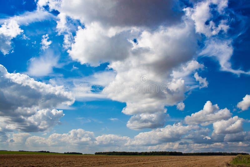 błękitny plamy chmur pola przodu zieleni ruchu nieba widoczny biel obraz stock