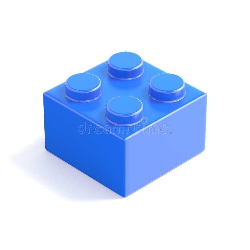 Błękitny plastikowy element, dziecko zabawka Odgórny widok 3d royalty ilustracja