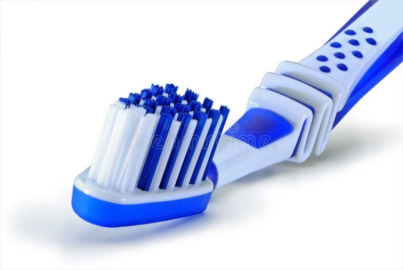 Błękitny plastikowy toothbrush odizolowywa na białym tle zdjęcie stock