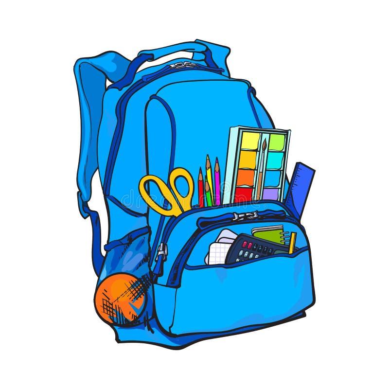 Błękitny plecak pakujący z szkolnymi rzeczami, dostawy, stacjonarni przedmioty royalty ilustracja