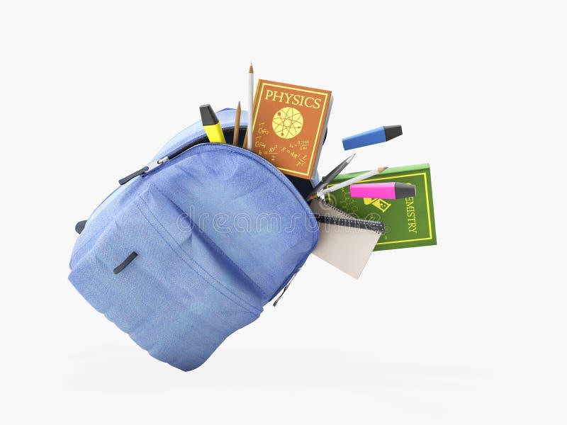 Błękitny plecak z szkolnymi dostawami 3d odpłaca się na bielu żadny cień ilustracji