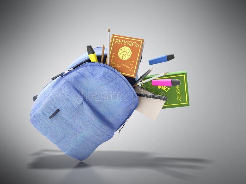 Błękitny plecak z szkolnymi dostawami 3d odpłaca się na popielatym ilustracji