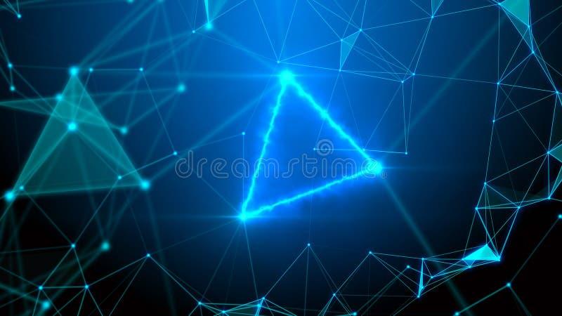 Błękitny plexus, błyskawicy inżynieria i technologia abstrakcjonistyczny tło i ilustracja wektor