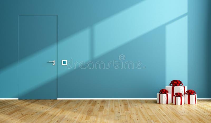 Błękitny pokój z prezentem na drewnianej podłoga ilustracji