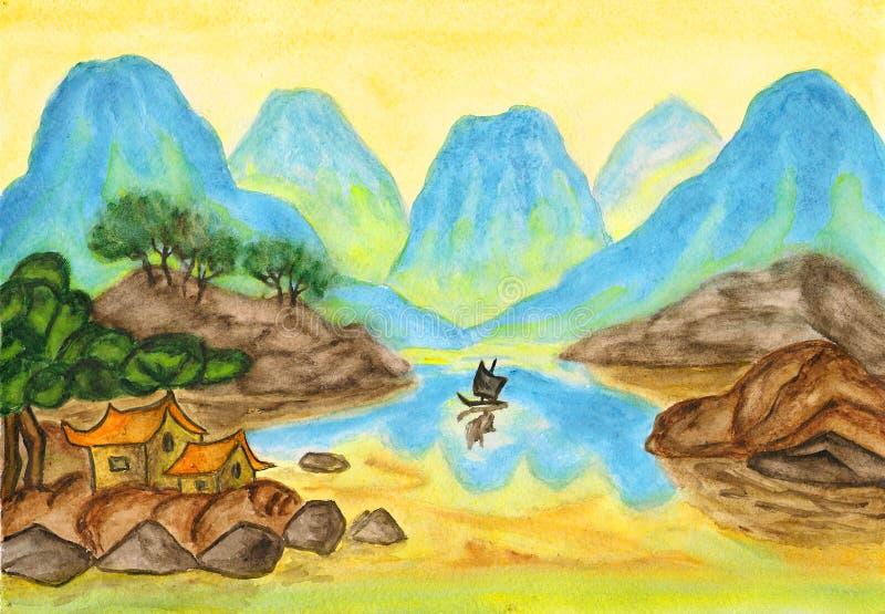 błękitny porcelanowych wzgórzy krajobrazowy obraz royalty ilustracja