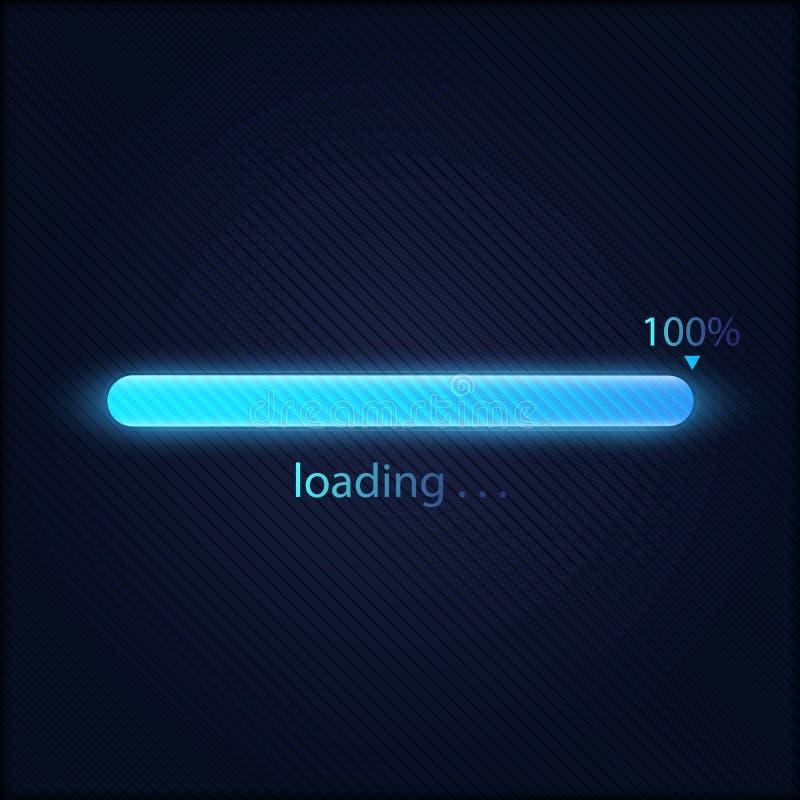 Błękitny postępu ładowania bar 100%, technologii pojęcie ilustracja wektor