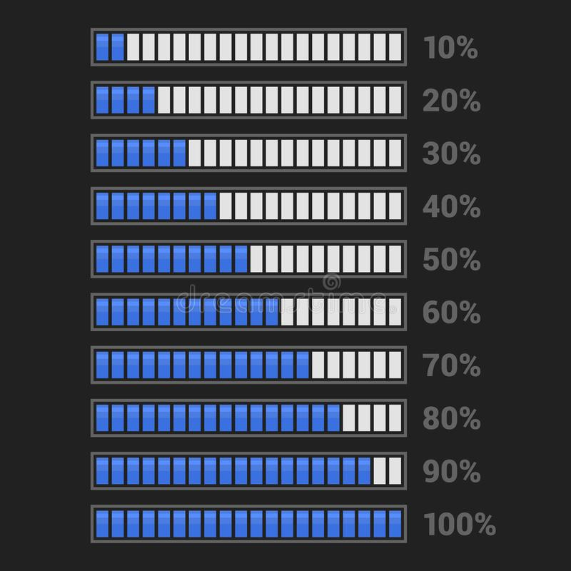 Błękitny postępu bar Ustawiający na Ciemnym tle wektor ilustracja wektor