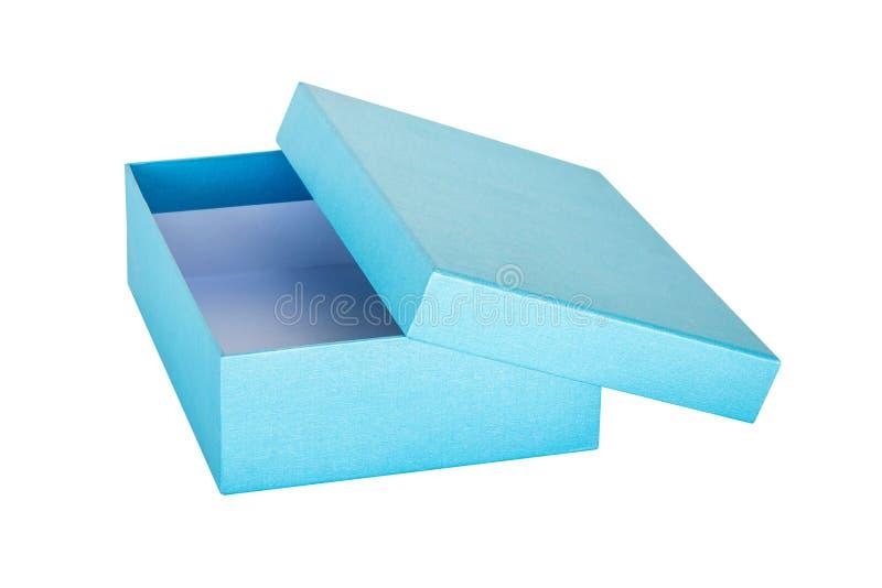 Błękitny prezenta pudełko na odosobnionym bielu obrazy royalty free