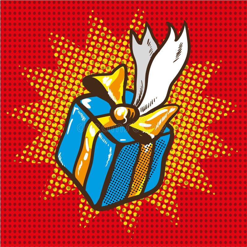 Błękitny prezenta pudełko z Złotymi faborkami, wystrzał sztuki retro wektorowa ilustracja royalty ilustracja