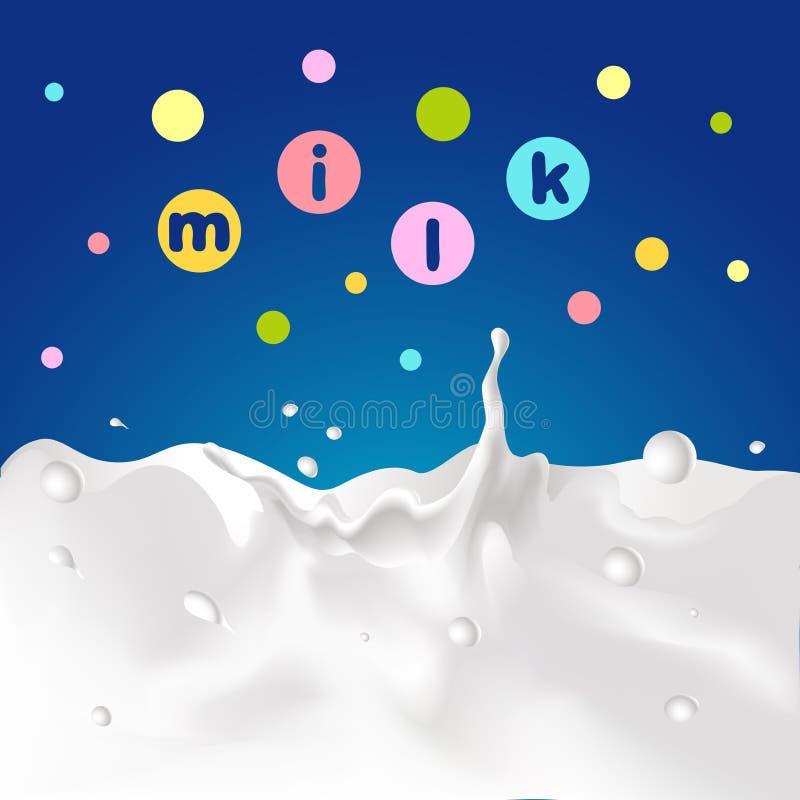 Błękitny projekt z dojnym pluśnięciem, kolorowy projekt i mleko tekst kropkowaliśmy - wektor ilustracji