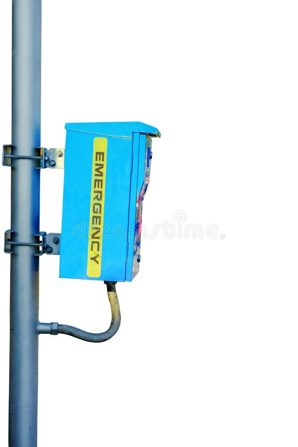 Błękitny przeciwawaryjny ochrony pudełko instalujący na stalowym słupie zdjęcia stock