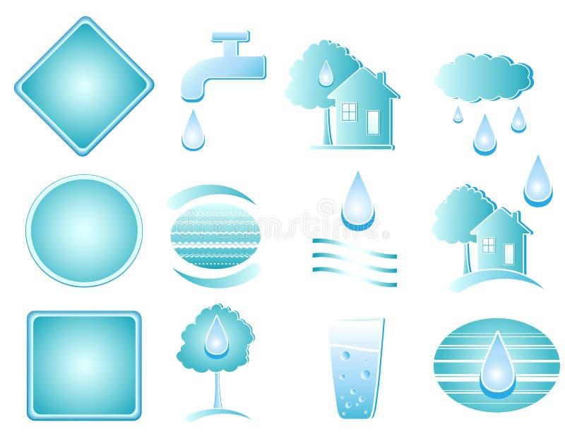 błękitny przedmiota setu woda ilustracja wektor