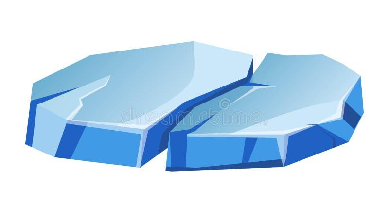 Błękitny przejrzysty nierówny lodowy lodowa kawałek odizolowywał kreskówka wektoru ilustracje ilustracji