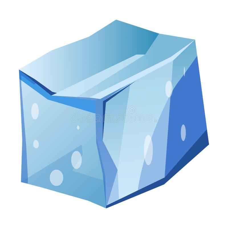 Błękitny przejrzysty nierówny lodowy lodowa kawałek odizolowywał kreskówka wektoru ilustracje royalty ilustracja