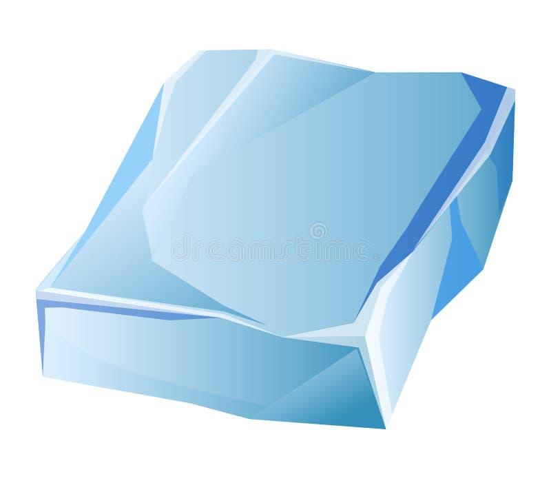Błękitny przejrzysty nierówny lodowy lodowa kawałek odizolowywał kreskówka wektoru ilustracje ilustracja wektor