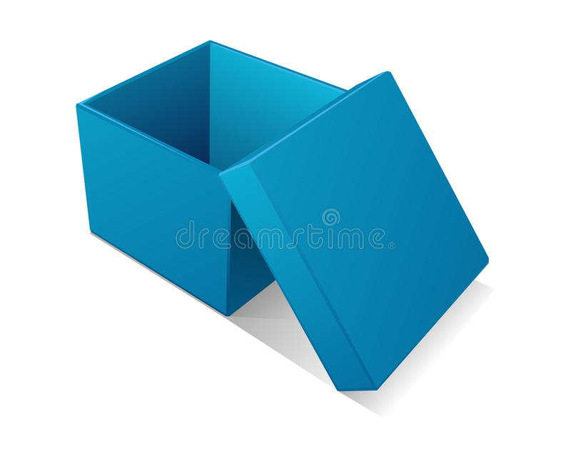 błękitny pudełka prezent otwarty ilustracji