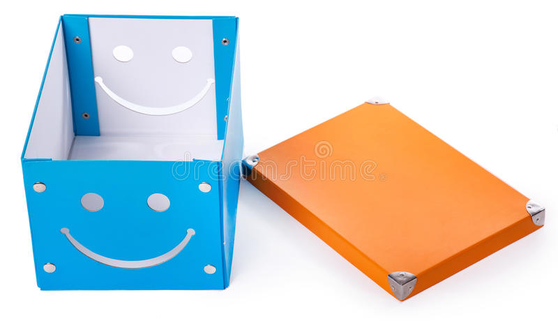 Błękitny pudełko na białym tle obraz royalty free