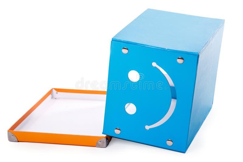Błękitny pudełko na białym tle fotografia royalty free