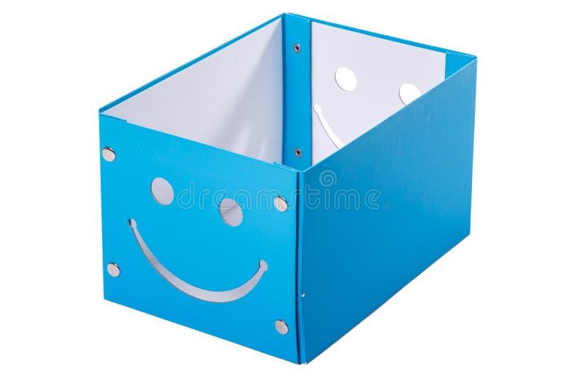 Błękitny pudełko na białym tle fotografia stock
