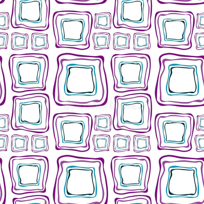 błękitny purpurowi retro bezszwowi kwadraty ilustracja wektor