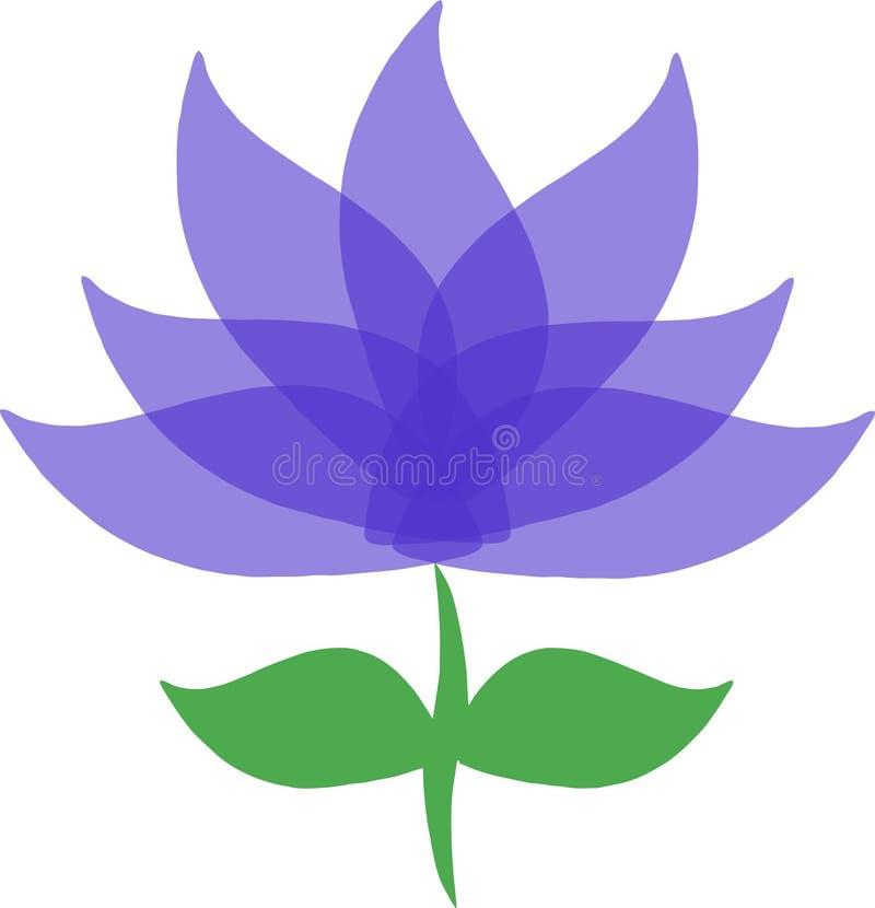 Błękitny purpurowy fiołkowy kwiatu loga wektor zdjęcia stock