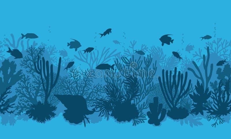 Błękitny rafy koralowa i ryba wzór ilustracji