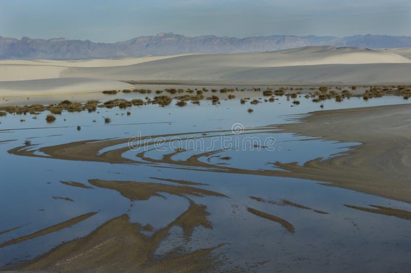 Błękitny ranku niebo odbija w deszczówka basenach w Białych piasków Krajowym zabytku fotografia royalty free