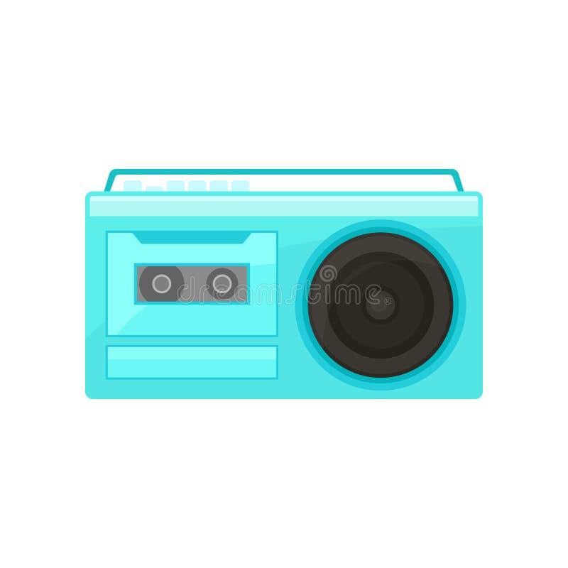 Błękitny retro radio z rękojeścią Rocznik kasety pisak z guzikami na wierzchołku Stara szkoła odtwarzacz muzyczny Płaski wektorow royalty ilustracja