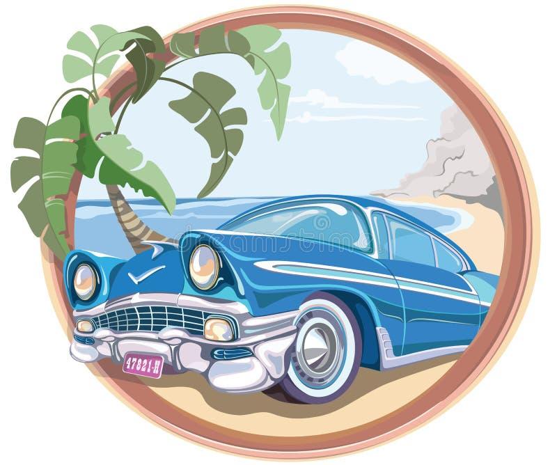 Błękitny retro samochód 50s w wektorze obraz royalty free
