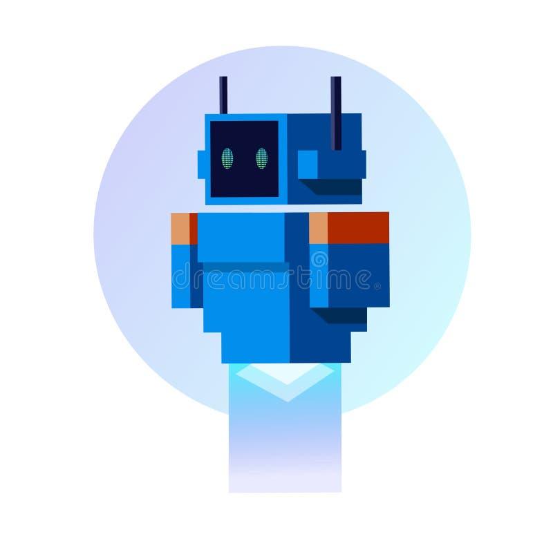 Błękitny robot w mieszkanie stylu ilustracja wektor